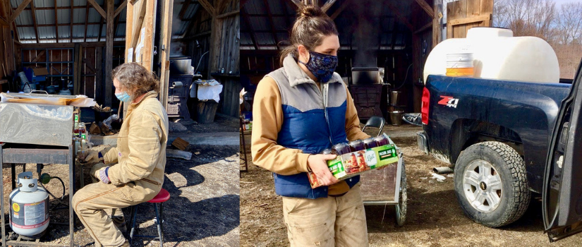 Images shows a farmer jarring finished maple syrup and another farmer carrying a box of jars.