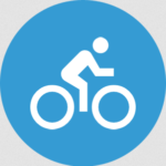 Graphic of a person on a bicycle