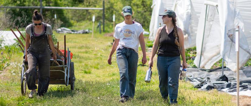Kim, Avery, and Chrissie walking across the farm.